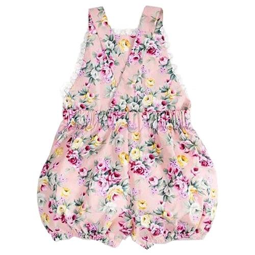 Infant Kids Toddler Baby Girl Bodysuit Strap Jumper Jumpsuit , Rose Flower , 0-6 Months