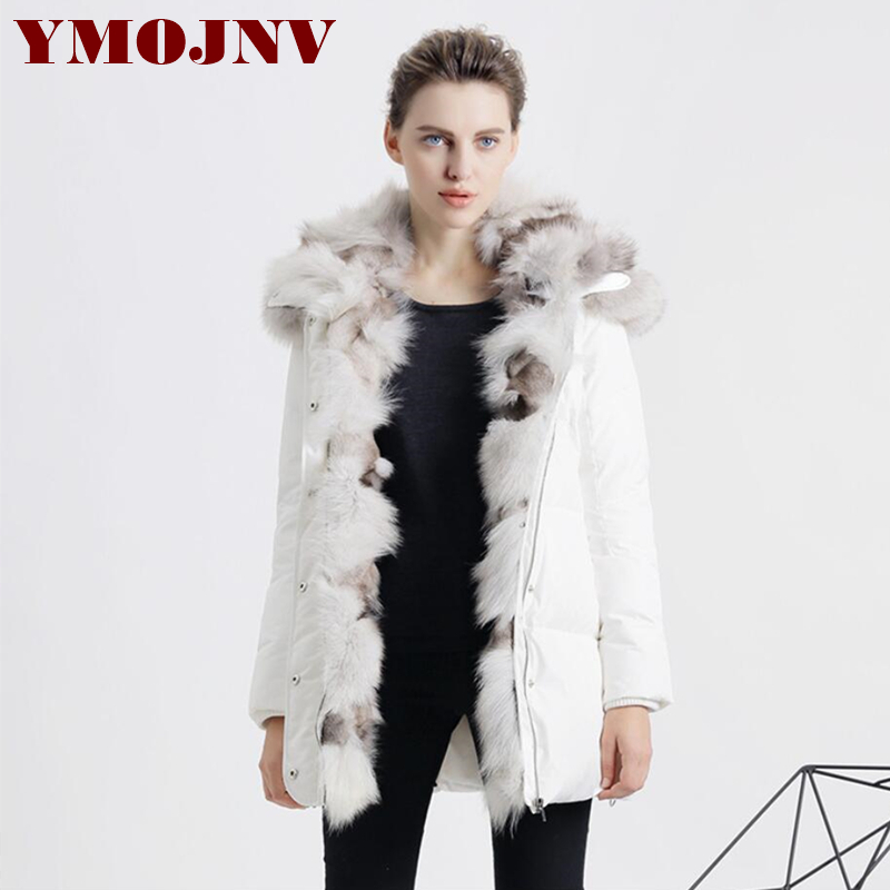 YMOJNV 2017 Winter New Womens Down Jackets Hooded Parka Female Real Fox fur Collar Medium Long Winter Down Jacket Women Coat 2017 winter new clothes to overcome the coat of women in the long reed rabbit hair fur fur coat fox raccoon fur collar