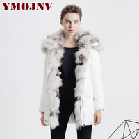 YMOJNV 2017 Winter New Womens Down Jackets Hooded Parka Female Real Fox Fur Collar Medium Long