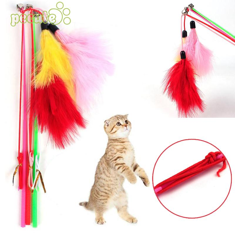 Creative Cat Kitten Toy Pet Supply Bell Rod Teaser Feather Games Random Color