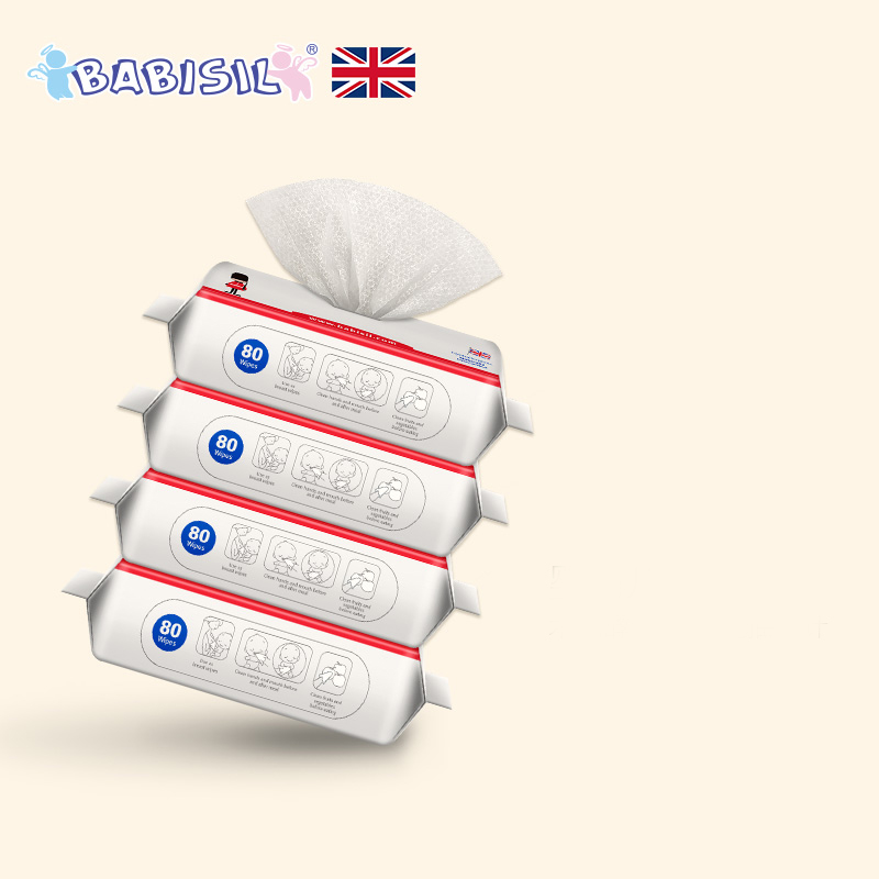 4 Packs Non-woven Fabric Infant Baby Wet Wipes Portable Wet Wipes