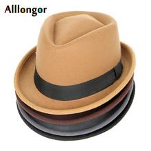 Модная Осенняя зимняя женская шерстяная фетровая шляпа, Мужская джазовая Панама, однотонная черная винтажная шляпа Трилби, фетровая шляпа