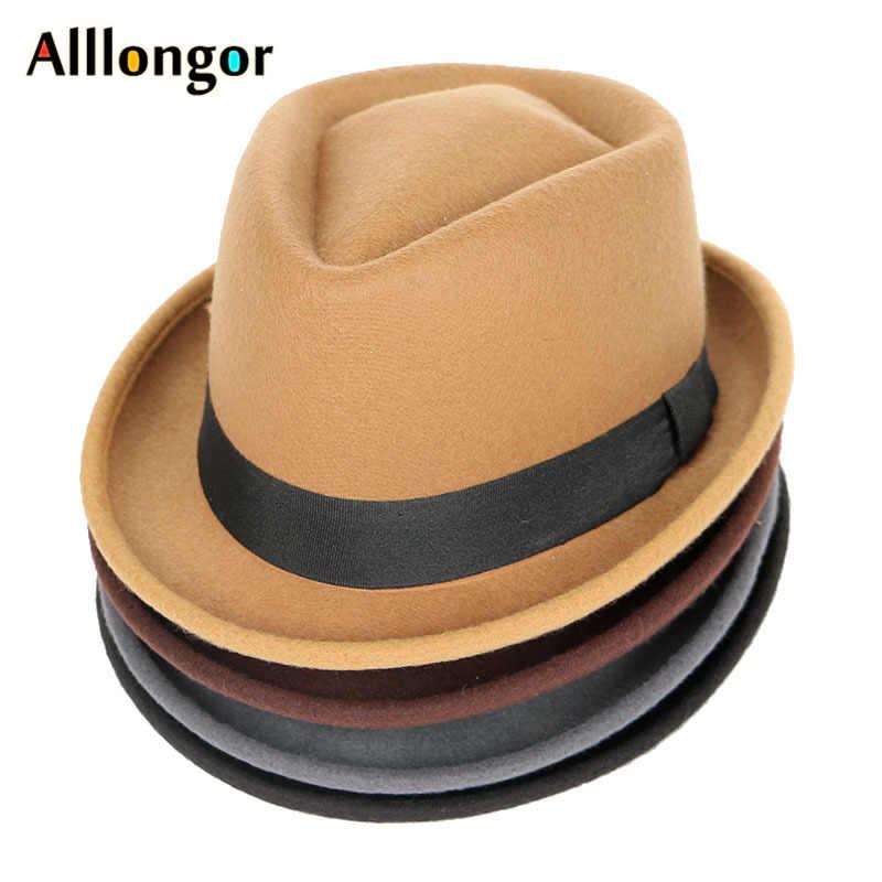 Mode Herfst 2019 Winter Fedora Vrouwen Wol Fedora Hoed Mannen Jazz Panama Solid Black Vintage Trilby Hoed Vilt Top Hat caps