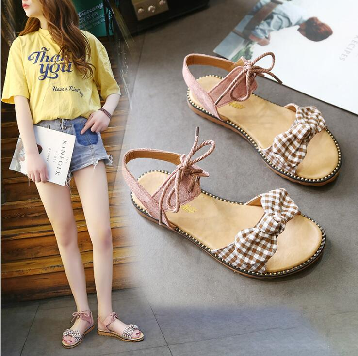 XDA Fashion Sandals Women Flats 2019 Summer bow-knot sandals Ladies lace-up Beach Sandals Cute student casual women shoes E113 2
