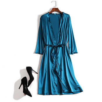 Silk 100 Real Pure Mulberry Women Robes Silk Satin Knee length robe nightwear sleepwear pijamas bornoz robe nightgown Kimono - SALE ITEM - Category 🛒 Underwear & Sleepwears