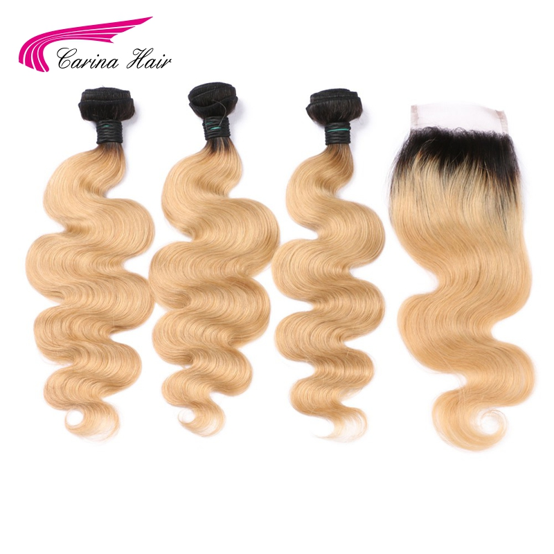 Ombre 1b 27 Honey Blonde Hair Wave Bundles with Ear to Ear Lace Closure Brazilian Carina