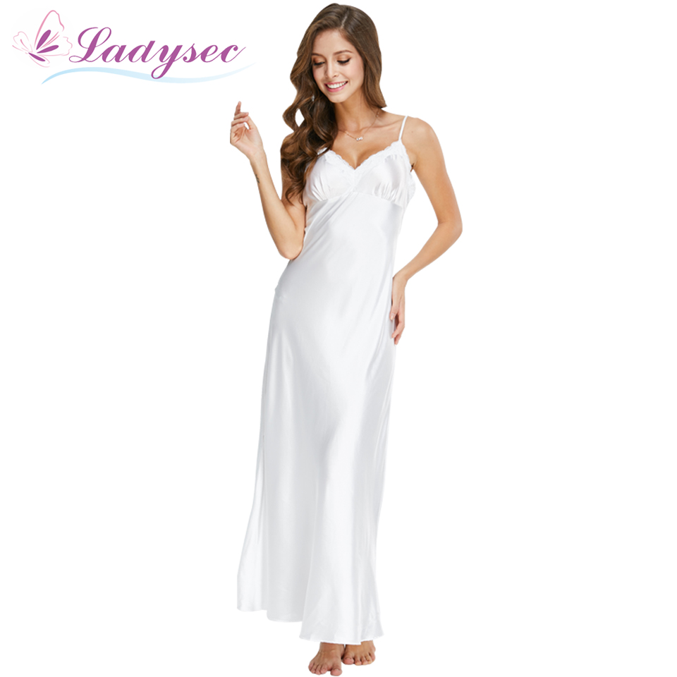 Long Nightgowns Spaghetti Strap Sleepdress Lace Sexy V-Neck Nightwear For Women Solid White Nightdress Lady Lingeries SLA501W
