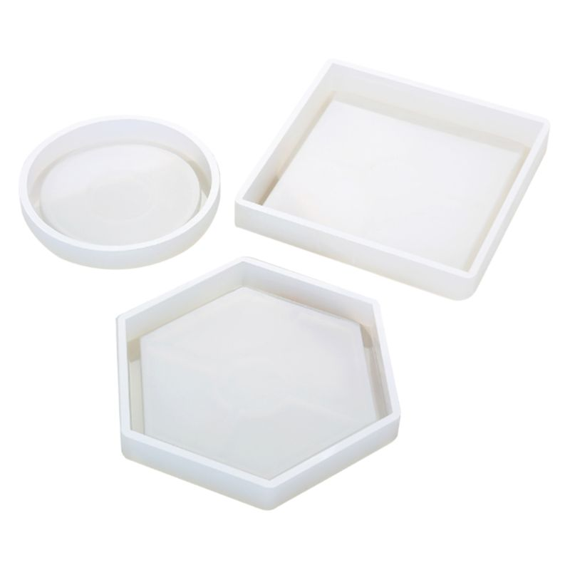 Silicone Mold DIY Cup Mat Pad Handmade Molds Crafts Epoxy Resin Geometric Shape Hexagonal Square Round