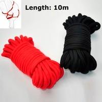 Black Red 10m Long Thick Cotton Sex Restraint Bondage Rope For Adult Game Couple Women Men