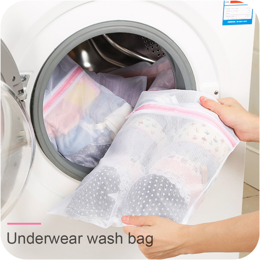 3 Size Foldable Bra Socks Underwear Washing Machine Protection Bag Zippered Mesh Laundry Net Storage Bags Organizer Container(China)