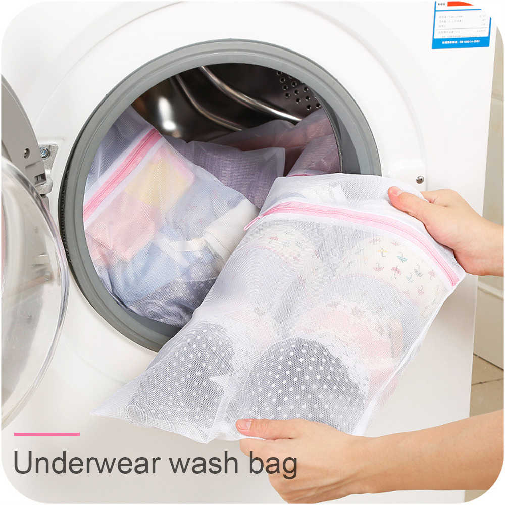 3 Size Foldable Bra Socks Underwear Washing Machine Protection Bag Zippered Mesh Laundry Net Storage Bags Organizer Container