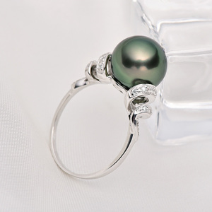 Image 3 - YS 18 k 純金海水真珠のリング 11 12 ミリメートル黒真珠リングタヒチパールウェディングリング