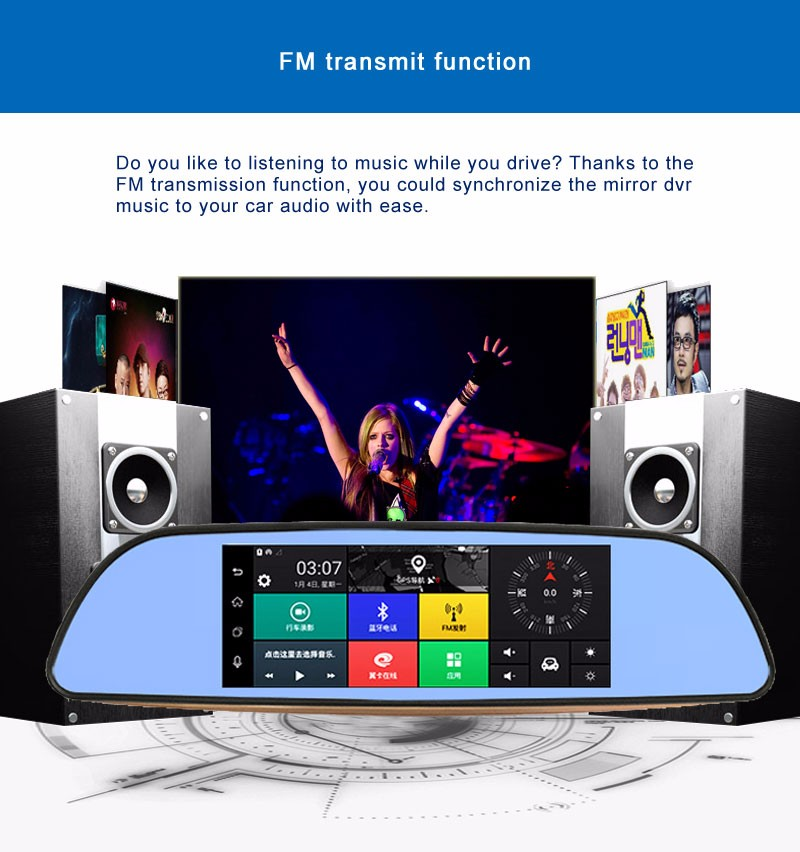 Free 32GB card+3G Car DVR+Android 5.0 Bluetooth GPS WIFI Dual lens rearview mirror camera+FHD1080P camara automovil Phisung H2 13