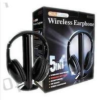 Multifunction 5 In 1 HiFi Wireless Headphone Earphone Hi Fi Headset Wireless Monitor FM Radio MP3