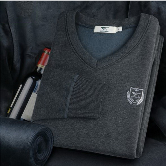 180201/Male underwear plus velvet thickening tight-fitting V-neck autumn and winter slim Fine workmanship