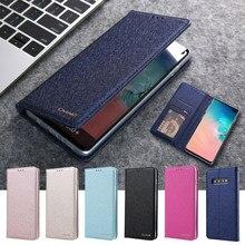 Luxe Silk Leather Wallet Case Voor Samsung Galaxy S10 S9 S8 Plus S10+ Telefoon Back Cover Met Magneet Card houder Flip Coque
