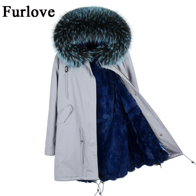 New winter jacket women parka natural raccoon fur collar hooded thick parkas long warm coats real rabbit fur coat womens jackets 2017 winter new clothes to overcome the coat of women in the long reed rabbit hair fur fur coat fox raccoon fur collar