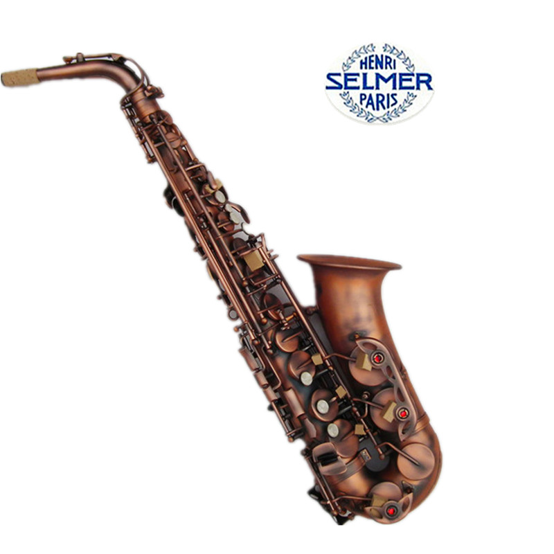 France Selmer E Flat Alto Saxophone Pearl Antique Copper simulation Carved Process Musical Instrument Top Saxe Sax Alto Eb