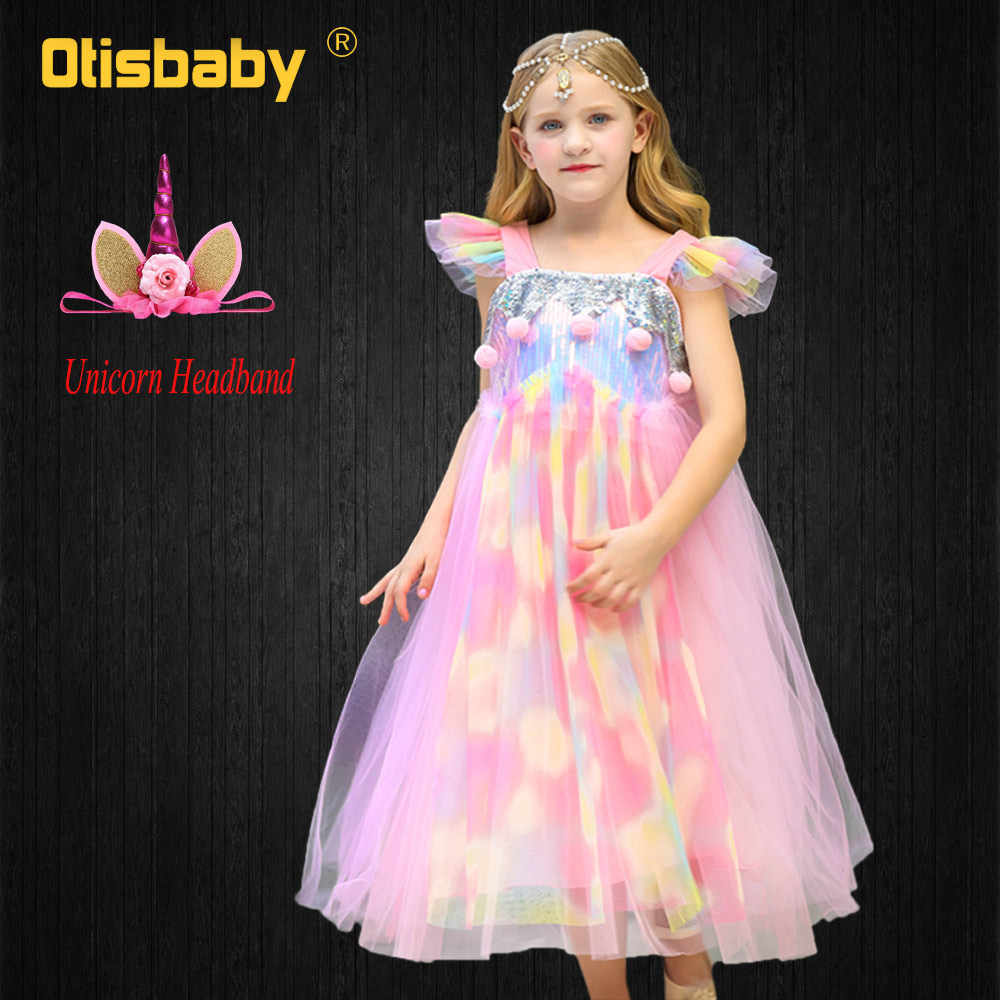 1ddcb36ef93b Summer Fancy Girls Unicorn Birthday Dress Kids Sequin Rainbow Long Dress  Colorful Voile Christmas Cute Girl