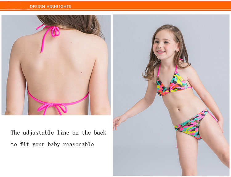 6bcc5eddfb58 Camouflage Bathing Suit for Girls Split Swimsuit for baby Kids ...