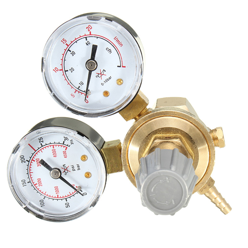 1 PC Copper Gold Argon CO2 Pressure Reducer Mig Tig Flow Meter Control Gas Regulator Dual Gauge Welding 1 inlet 1 outlet liquefied lgp gas gauge pressure regulator green