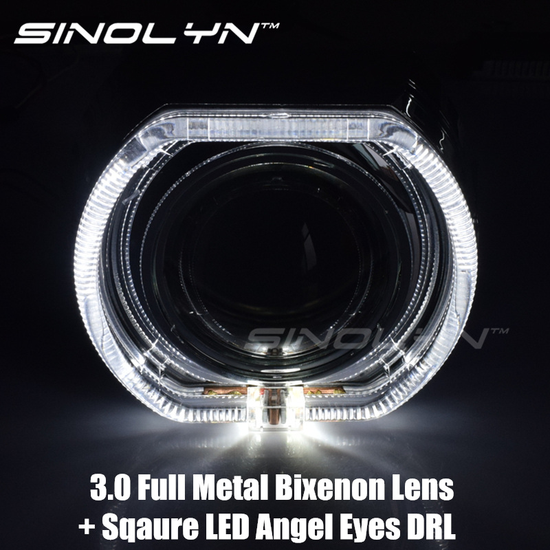 SINOLYN Car-styling Bi Xenon LED DRL Angel Eyes Headlight Lens Projector Devil Eye Lamps 3.0'' Q5 D2S/D2H Tuning Retrofit DIY H4 sinolyn upgrade 8 0 car led cob angel eyes halo bi xenon headlight lens projector drl devil demon eyes h1 h4 h7 kit retrofit diy