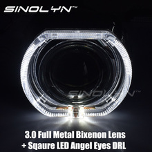 "SINOLYN Car-styling Bi Xenon LED DRL Angel Eyes Headlight Lens Projector Devil Eye Lamps 3.0"" Q5 D2S/D2H Tuning Retrofit DIY H4"