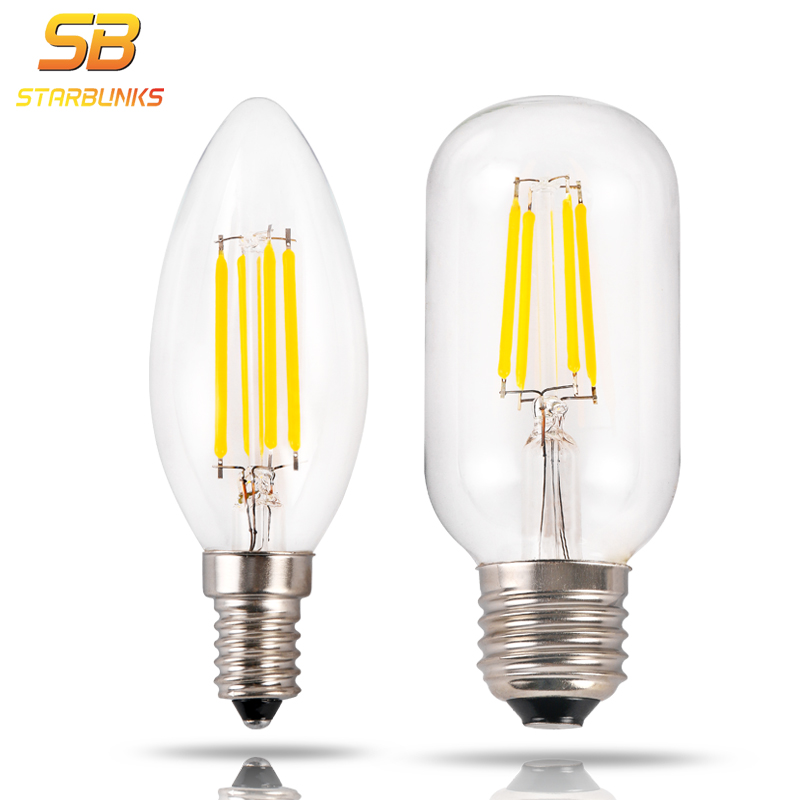 STARBUNKS Edison Glass Lamps Led E14 Filament Bulb Ampoule Candle Lights Energy Saving Bulb Home Lighting 220V 4W Lampada Led