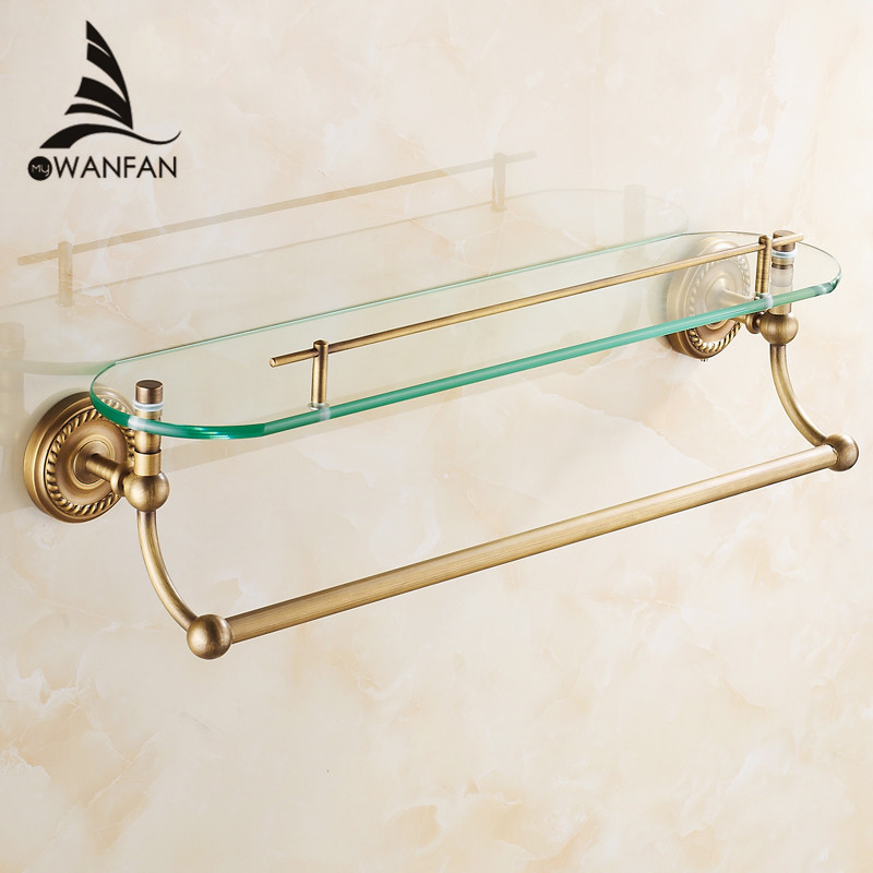 Bathroom Shelves Single Tempered Glass Antique Brass Towel Bar Cosmetic Racks Hanger Storage Home Deco Bath Wall Shelf HJ-1313 whole brass blackend antique ceramic bath towel rack bathroom towel shelf bathroom towel holder antique black double towel shelf