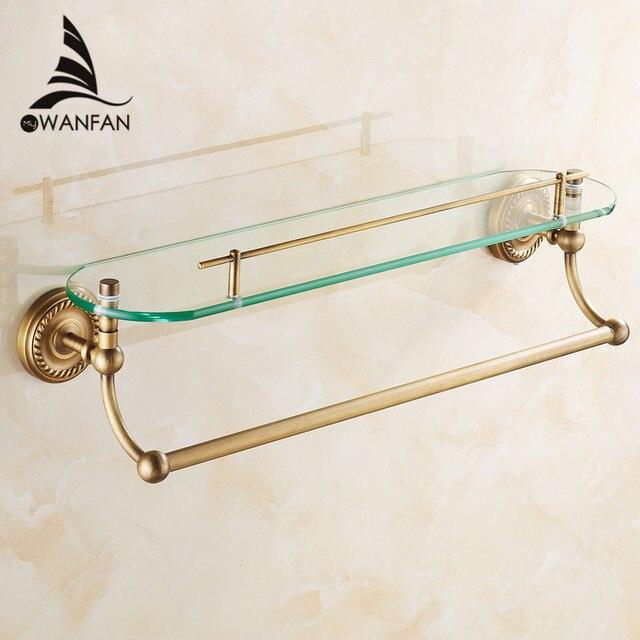 Bathroom Shelves Single Tempered Glass Antique Brass Towel Bar ...