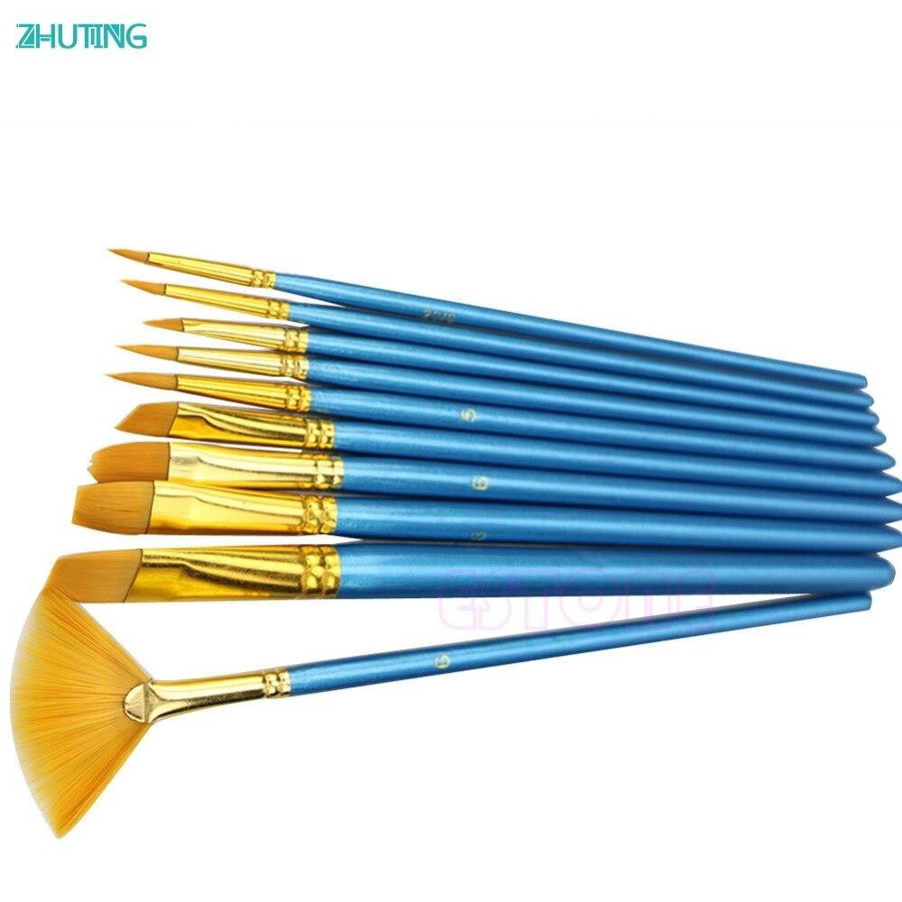 Juego de pinceles de nailon para pintura, 10 pinceles para artistas con pelo acrílico, acuarela, Flabellum, Punta puntiaguda, JAN18|artist paint brush set|paint brush setpaint brush - AliExpress