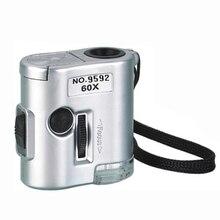 Clear vision 1 шт. бренд мини 60X карманный микроскоп Ювелирные изделия Лупа Стекло светодиодный УФ светильник увеличительное стекло es