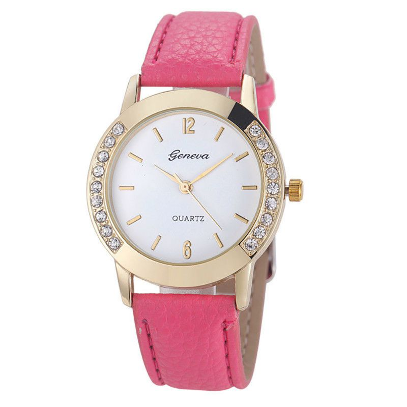 Women Geneva Watch Fashion Læder Rustfrit Stål Analog Quartz - Dameure - Foto 4