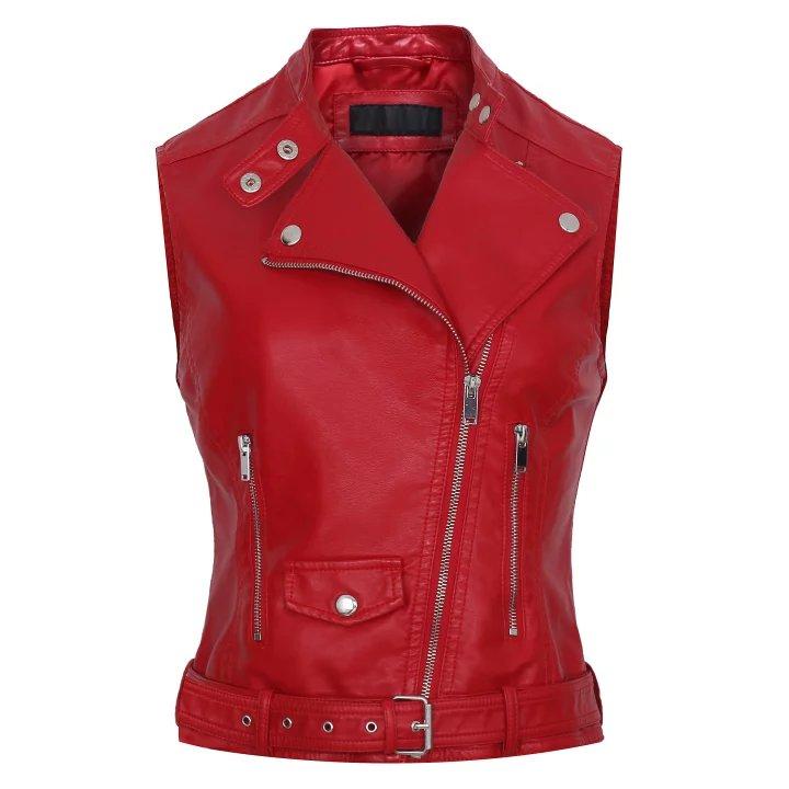 2017 Fashion Leather Vest Womens Sleeveless Leather jacket Pockets PU vest Waistcoat leather coat Top