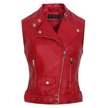 2017 Fashion Leather Vest Womens Sleeveless Leather jacket Pockets PU vest Waistcoat leather coat Top