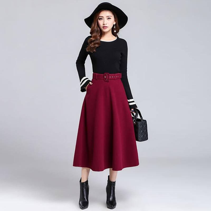 2017 Autumn Winter Woolen Maxi Skirt Women Elegant High Waist Long Wool Skirt Saia Longa Retro Pleated Skirts Womens Jupe C3579 dabuwawa woolen a line deep v split high waist plaid pleated skirt elegant suspender skirt sleeveless jumper skirts d17cdx009