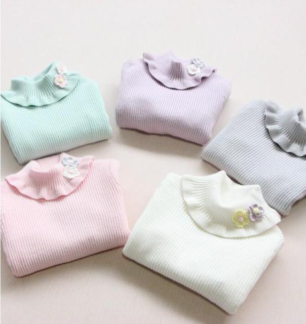 YG30879848 Retail 2015 Nuevo Otoño Niña Suéter de Cuello Alto Sólido Apliques de Flores de la Muchacha de la Manga Completa Pullover Ropa de Niña