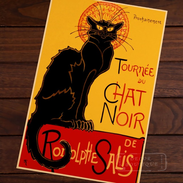 Tribute To Chat Noir The Black Cat Room Frame Vintage Kraft Decorative Poster Diy Wall Canvas