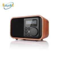 EStgoSZ Wood Radio Bluetooth Speaker With FM Support Alarm Clock Display Time Micro SD/TF Card USB Remote Controll MP3 Player