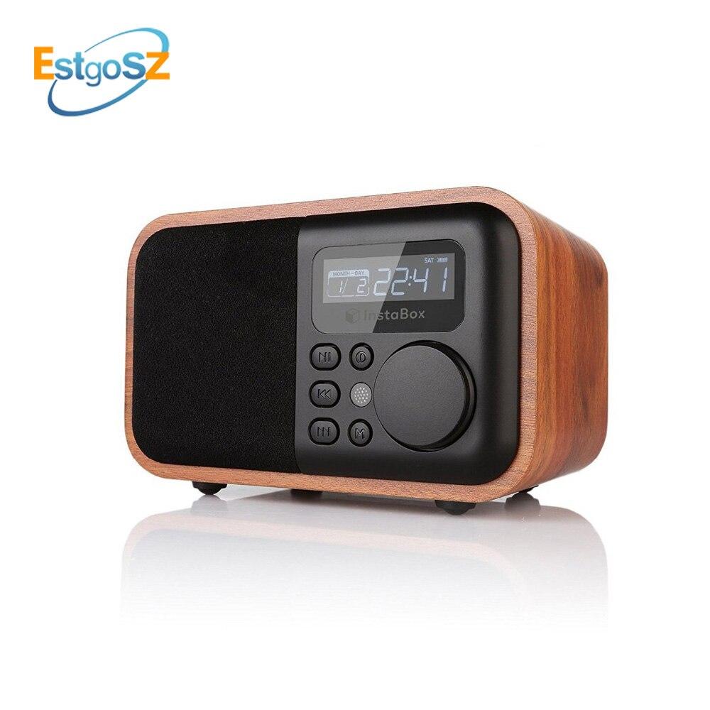 EStgoSZ bois Radio Bluetooth haut-parleur avec Support FM réveil affichage du temps Micro SD/TF carte USB télécommande lecteur MP3