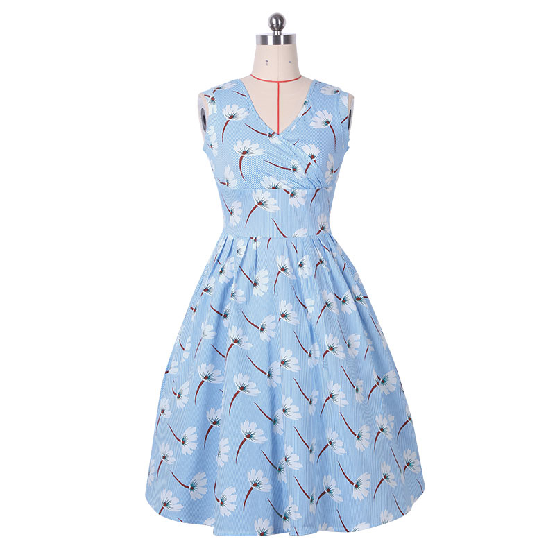 Fashion Woman Sky Blue Striped Midi A Line Summer Dresses Spaghetti Strap Strapless Empire Vintage Preppy Style Sweet Girl Dress