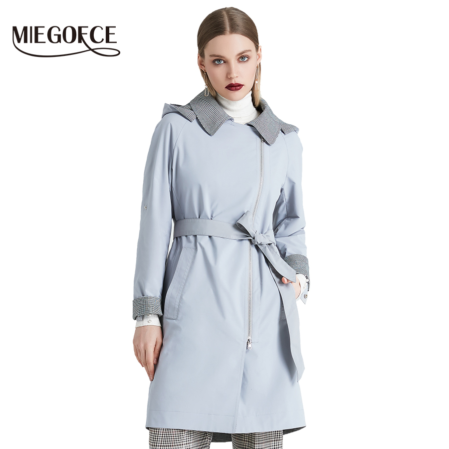 MIEGOFCE 2019 New Product   Trench   Spring Autumn Female Windproof Warm Female Coat European and American Model Windbreaker