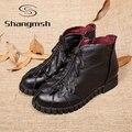 New Genuine Ankle Boots de Couro Botas de Inverno Mulheres Sapatos Feitos À Mão para As Mulheres Da Forma de Folha Mulher Sapatos Casuais Marrom Preto Vermelho sapatos