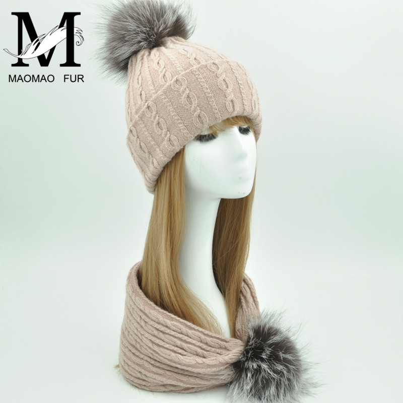 Fur Pom Pom Hat And Scarf Women Winter Knitted Beanie Ladies Real Fox Fur Scarf Hat Set