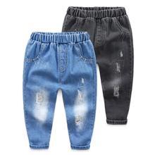 Spodnie dziecięce dziura dżinsy chłopców odzież dla niemowląt spodnie dżinsy dla dzieci moda wiosna jesień chłopiec jest kowbojskie spodnie tanie tanio JEANS Na co dzień Distrressed Medium Dziewczyny Elastyczny pas Proste Stałe Pasuje większy niż zwykle proszę sprawdzić ten sklep jest dobór informacji