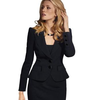 Blazer Female Blue Women Suit Office Ladies 2017 New Spring Slim Top Elegant Short Design Clothes Two buckle suit woman coat 4XL 1