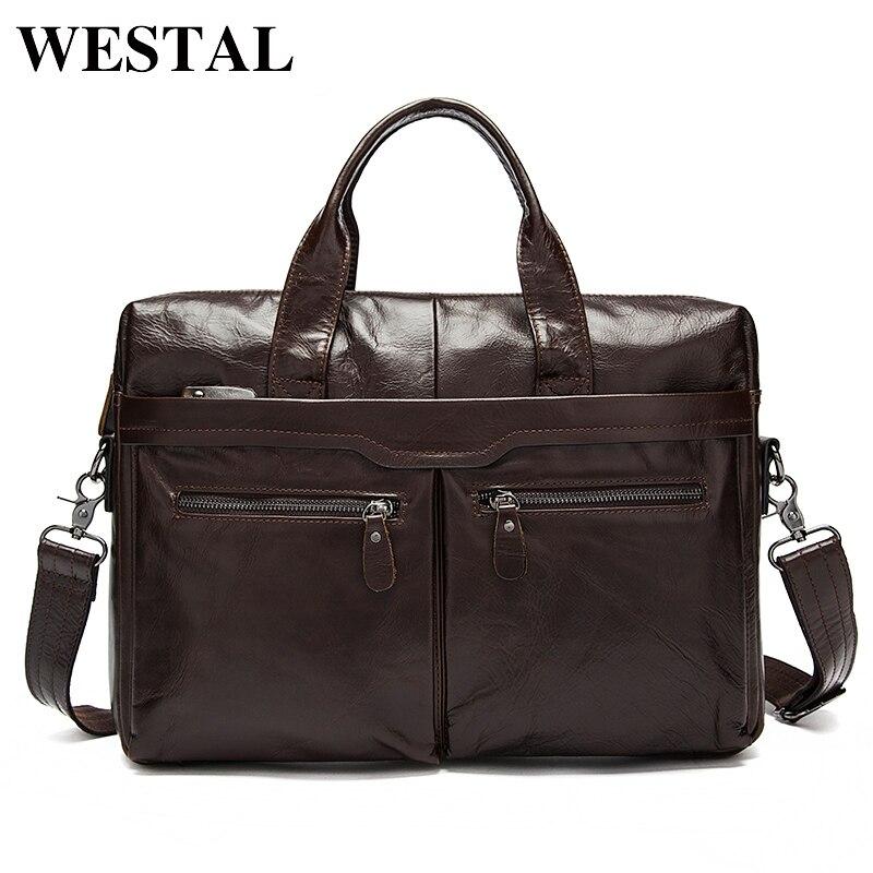 WESTAL Men's Bag Genuine Leather Crossbody Bags for Men Messenger Bags Shoulder Bag for Laptop 14'' Business Briefcases 9005