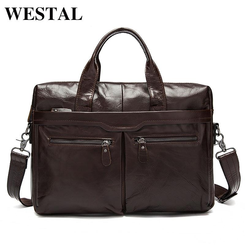 WESTAL Men's Bag Genuine Leather Messenger Bag Men Leather Men's Shoulder/Crossbody Bags For Men Laptop Bags Briefcases Totes