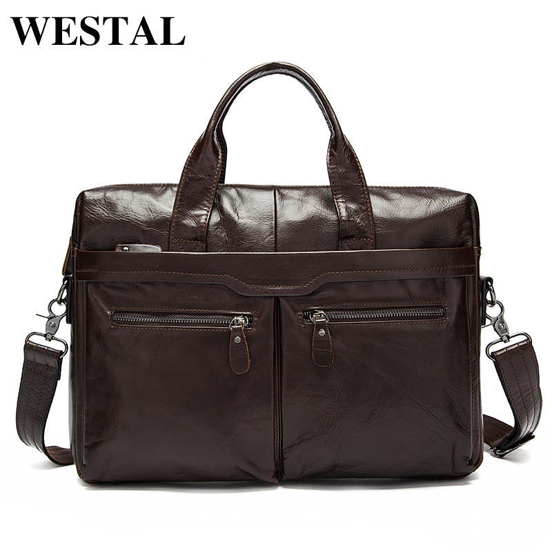 WESTAL Men's Bag Genuine Leather Messenger Bag Men Leather Shoulder Laptop Bags 14 Crossbody Bags for Men Briefcases Male 9005