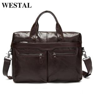 Image 1 - WESTAL sac à bandoulière en cuir véritable pour hommes, sac à épaule/fourre tout sacs pour ordinateur portable